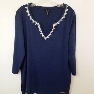 Jones New York Women's Blue Shirt Top Blouse